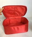 Satin with foam base lady cosmetic storage bag case red colour