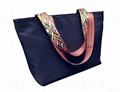 Nylon large size lady tote shopper bag with webbing handles dark blue