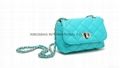 Faux leather PU diamond quilted small lady shoulder cross body bag peacock blue