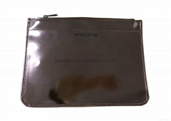 Shiny PU lady clutch bag with 1 zipper pocket on the front