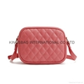 PU quilted ladies shoulder handbag,lady cross body handbag quilted red colour