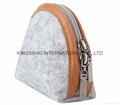 Felt shell shape small size cosmetic case bag ,make up bag grey colour