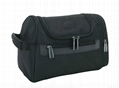 Polyester men's travel toiletry bag black colour with hook inside