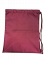 420D nylon drawstring bag dark red colour with pp rope