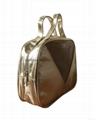 Mesh/PU portable cosmetic bags  with short handle makeup bag