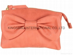 PU lady clutch bag with bow and metal zipper at top