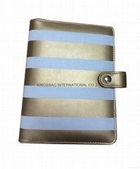 Stripe pattern PU leather fashion Book Cover with snap