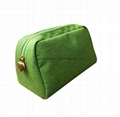 Polyester small lady makeup promotional pouch bag green colour