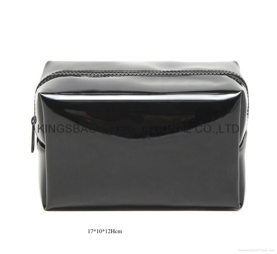 a2dbd7110ebf Faux patent leather PVC beauty makeup bags black colour - K1479 ...