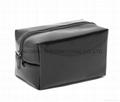 Faux patent leather PVC beauty makeup bags black colour