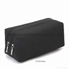 Men's nylon double zipper travel makeup bags