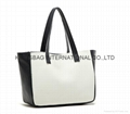 Contrast colour PU small size cute girls or ladies tote shopper bag