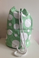 16oz canvas laminated cylinder duffel drawstring beach bags with dots prints