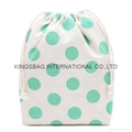 Portable cotton with dots prints drawstring bags