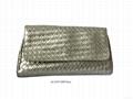 Faux leather woven shiny PU women clutch 4784823b94cec