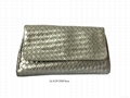 Faux leather woven shiny PU women clutch bags