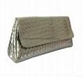 Faux leather woven shiny PU women clutch bags