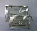 Transparent PVC promotion gift makeup bag cosmetic bags with PU piping