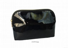 Faux patent leather PU beauty cosmetic bags gift makeup bags black colour