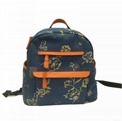 Flower printed twill canvas children school backpack bag  (Hot Product - 1*)
