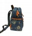 Flower printed twill canvas children school backpack bag