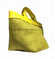 Jute combined with shiny PU promotion ladies tote shopper bags