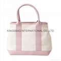 Canvas combined with PU lady tote shopper bags