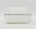 PU woven fashion women's cosmetic bags white colour