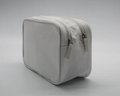 600D polyester TPE base white promotion double open zipper cosmetic pouch bags