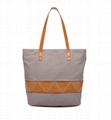Canvas combined with leather lady tote shopper bag