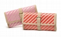 PP woven vogue lay clutch purse with buckle on front