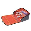 Grey white polyester unisex toiletry bag, hanging travel amenity bags
