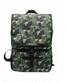 Plantain leaf polyester insulated backpack drawstring closure at top