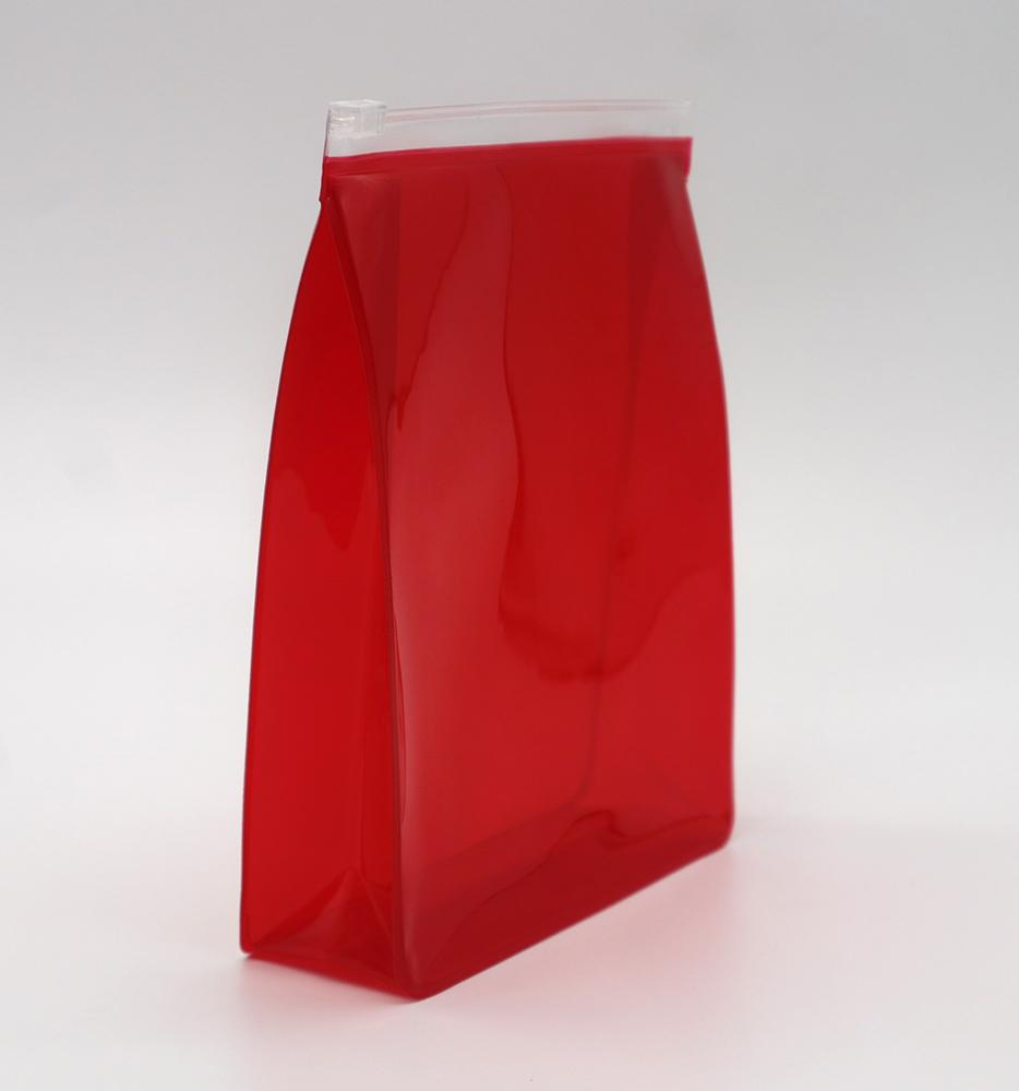 Promotion cheap small 0.3mm clear PVC pouch in red colour  2