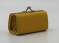 Lovely kids kiss lock PU made small coin purse with metal framde