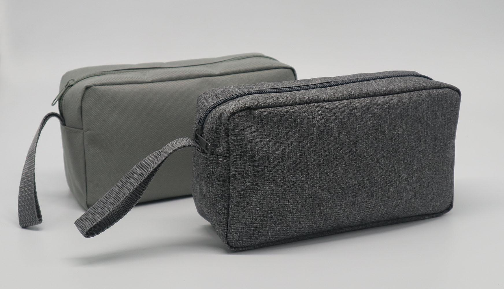Promotion gift cheap men toiletry bag grey colour polyester made 6