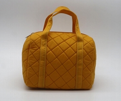 Nylon quilted lady small handbag yellow colour