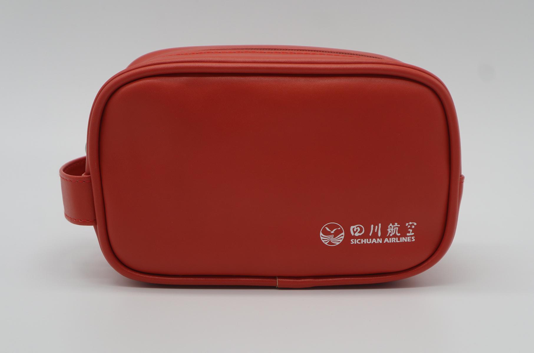 PU leather unisex airline amenity toiletry bag orange colour 2