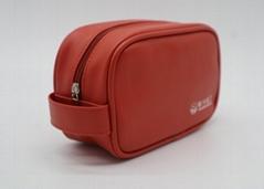 PU leather unisex airline amenity toiletry bag orange colour