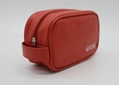 PU leather unisex airline amenity toiletry bag orange colour