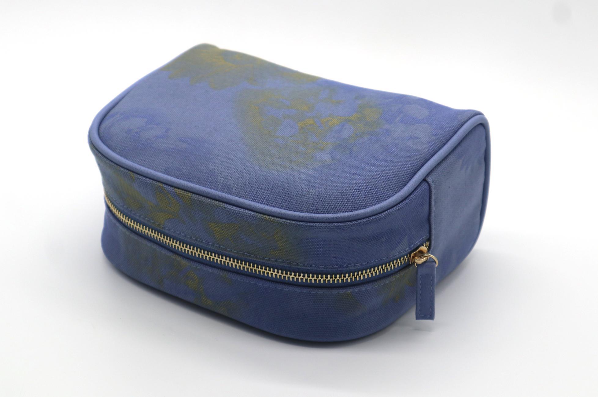 16oz canvas beauty women daisy cosmetic bag sky blue color 5