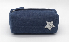 Jean made children pencil pouch with glitter star stitches on front