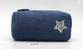 Jean made children pencil pouch with glitter star stitches on front 2