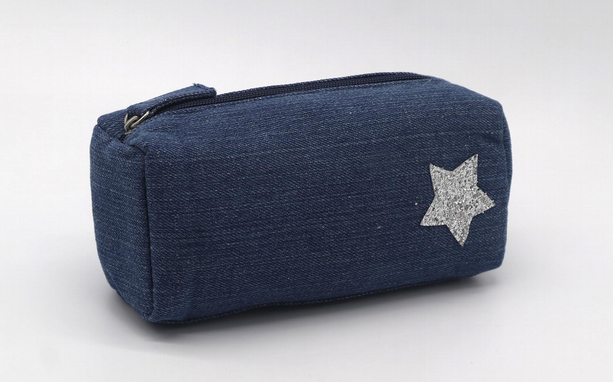 Jean made children pencil pouch with glitter star stitches on front 4