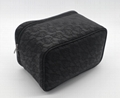 Lace patten black PU women cosmetic case with short handle