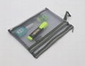 Double layers mesh made stationery zipper pouch bag grey colour  3