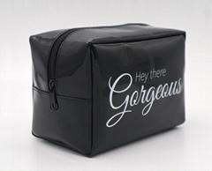 Vinyl PVC promotion beauty women makeup bag black colour