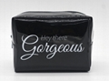 Vinyl PVC promotion beauty women makeup bag black colour
