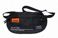 600D polyester unisex fanny pack black colour