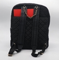 Trend beauty nylon quilted medium women backpack in black colour